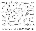 set of hand drawn arrows.vector ... | Shutterstock .eps vector #1055214314