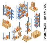vector isometric warehouse... | Shutterstock .eps vector #1055219129