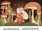 magic forest illustrations with ... | Shutterstock .eps vector #1055229455