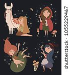 vector illustrations with girl... | Shutterstock .eps vector #1055229467