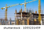 lots of tower construction site ... | Shutterstock . vector #1055231459
