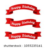 red banners with 'happy... | Shutterstock .eps vector #1055235161