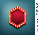 retro vintage light bulbs frame.... | Shutterstock .eps vector #1055235437