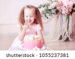 happy kid girl 4 5 year old... | Shutterstock . vector #1055237381