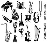 set of monochrome images... | Shutterstock .eps vector #1055238839