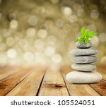 zen stones on the old wooden... | Shutterstock . vector #105524051