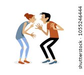 conflict. a man and a woman... | Shutterstock .eps vector #1055246444