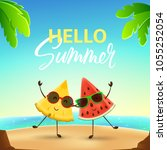 funny summer banner with fruit... | Shutterstock .eps vector #1055252054