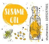 sesame oil concept design. hand ... | Shutterstock .eps vector #1055257001