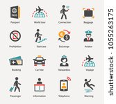 airport icons set | Shutterstock .eps vector #1055263175