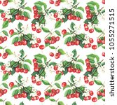 seamless pattern with cherry...   Shutterstock . vector #1055271515