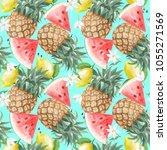 seamless watercolor... | Shutterstock . vector #1055271569