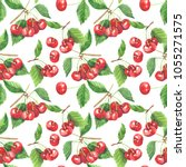 seamless pattern with cherry... | Shutterstock . vector #1055271575