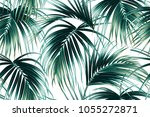 tropical palm leaves  jungle... | Shutterstock .eps vector #1055272871