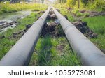 construction of oil pipeline... | Shutterstock . vector #1055273081