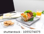 food in the office. healthy... | Shutterstock . vector #1055276075