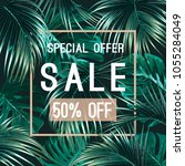 sale banner  poster with palm... | Shutterstock .eps vector #1055284049