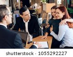 young red haired woman took... | Shutterstock . vector #1055292227