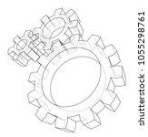 3d gear wheel. vector rendering ... | Shutterstock .eps vector #1055298761