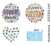 summer beach and vacation set... | Shutterstock .eps vector #1055301164