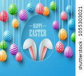 colorful easter eggs hanging... | Shutterstock .eps vector #1055303021
