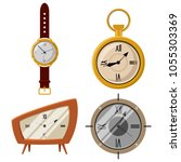 antique pocket watch and clock... | Shutterstock .eps vector #1055303369