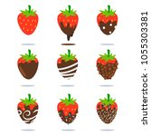chocolate covered strawberries... | Shutterstock .eps vector #1055303381