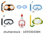 snorkel masks for diving and... | Shutterstock .eps vector #1055303384