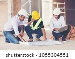 architect and engineer inspect... | Shutterstock . vector #1055304551