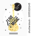 music poster with gold guitar ... | Shutterstock .eps vector #1055320145