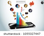 mobile phone 3d and graph icon  ... | Shutterstock .eps vector #1055327447