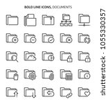 folders  bold line icons. the... | Shutterstock .eps vector #1055330357
