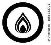 fire icon black color in circle