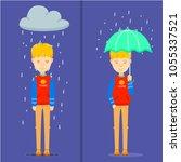 guy on rainy day  happy guy... | Shutterstock .eps vector #1055337521
