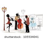 street musicians with a... | Shutterstock .eps vector #105534041