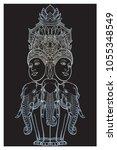 statue representing trimurti  ... | Shutterstock .eps vector #1055348549