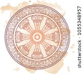 dharma wheel  dharmachakra.... | Shutterstock .eps vector #1055348957