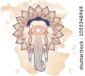 statue of three elephants.... | Shutterstock .eps vector #1055348969