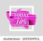 sale today 10  off sign over... | Shutterstock . vector #1055349911