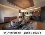 open plan apartment interior ... | Shutterstock . vector #1055355395