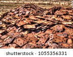 rail way track plates piled... | Shutterstock . vector #1055356331