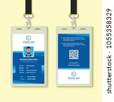 blue employee id card design... | Shutterstock .eps vector #1055358329