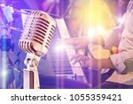 close up retro microphone with... | Shutterstock . vector #1055359421