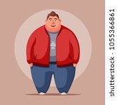 happy fat man. obese character. ... | Shutterstock .eps vector #1055366861