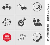 set of 9 simple editable icons... | Shutterstock .eps vector #1055367179