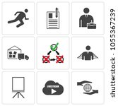 set of 9 simple editable icons... | Shutterstock .eps vector #1055367239