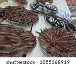 fresh fishes in a market. ...   Shutterstock . vector #1055368919