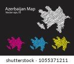 set of vector azerbaijan maps... | Shutterstock .eps vector #1055371211