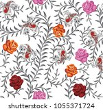 seamless floral with paisley... | Shutterstock .eps vector #1055371724