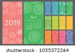 Calendar 2019 Colorful Hand...
